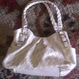 White Apt 9 Leather Shoulder Bag